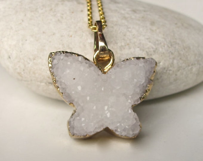 Butterfly Statement Druzy Necklace- Raw Gemstone Gold Necklace- Layering White Sparkly Necklace- Sterling Silver Charm Necklace-
