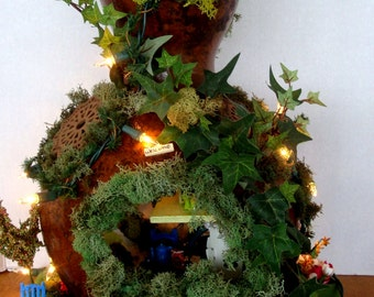 Enchanting ...Gourd Fairy House...Lites......OOAK