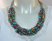 Rainbow Ladder Yarn Necklace, Crocheted Ribbon Necklace, 4-Way Necklace, Handmade Fiber Necklace, Vegan Necklace, Ready to Ship