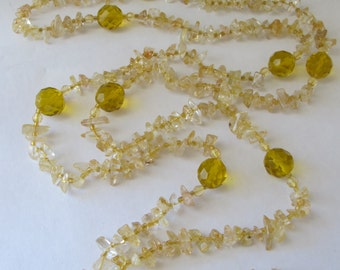 Single Strand of Golden Yellows in Quartz & Crystal combination Bead Necklace/ SUNSHINE/ Resort Beach Ready Stone Jewelry