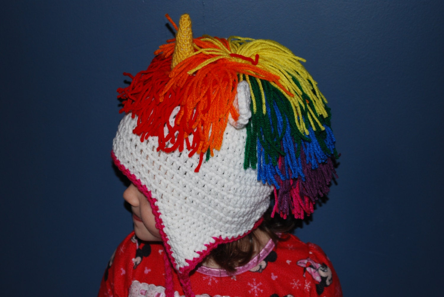 Unicorn Crochet Hat with Rainbow Hair and by CraftsAndCuties