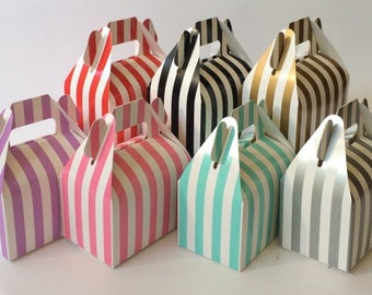 Wedding Gable Boxes - Stripe Chevron party favor candy buffet table favour boxes- wholesale printed party box gift box (12 count) YOU PICK