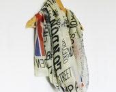 Sale Yellow London Print XL Voile Scarf Shawl, British, Union Jack, Gift, UK Flag, red bus, London Sky, cotton, London City, retro,  UK wrap
