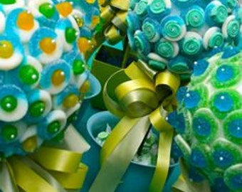 Blue, Yellow, Green Gummy, Sour Belt Candy Land Centerpiece Topiary Tree, Candy Buffet Decor, Mitzvah, Party Favor, Rainbow