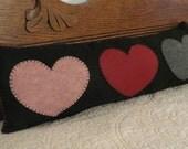 Felt Valentine Pillow with Hearts, Valentine's Day Decor, Handmade Pillow, Heart Pillow, Black Felt Pillow with Hearts, OFG, FAAP, Valentine