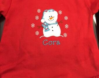 Girls Long Sleeve Applique Snowman Dress