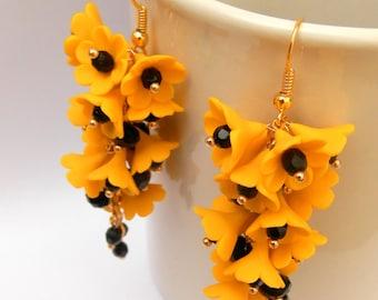 Yellow Earrings Flower Earrings Yellow Jewelry Dangle Earrings Yellow Flowers Handmade Jewelry Flower Jewelry Polymer Jewelry Yellow Black