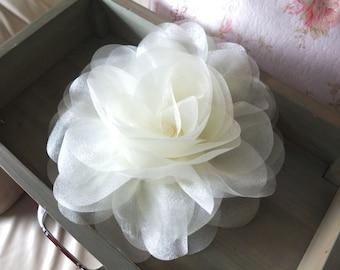 Jumbo Organza Flower Brooch, Creamy Fabric flower, Sash Flower, Shoulder Flower, Headpiece, Dress accessories
