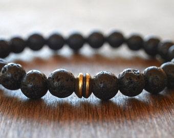 Men's Lava Stone Bracelet. Men's Beaded Bracelet. Lotus & Lava Bracelet. Bracelet For Strength. Bracelet for Courage. Men's Yoga Bracelet.