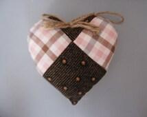 Antique Heart Shaped Pillow, Vtg Quilt Pillow, Rustic Valentine Pillow, Quilt Pillow,  Handmade Handsize Pillows, Rustic Christmas
