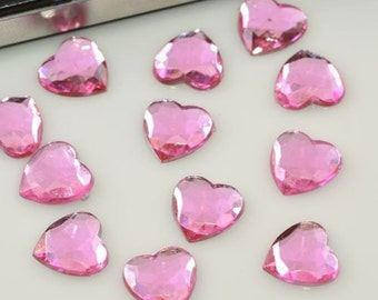 50 Piece Pink 10mm Faceted Flatback Acrylic Heart Rhinestone Cabochons WHOLESALE