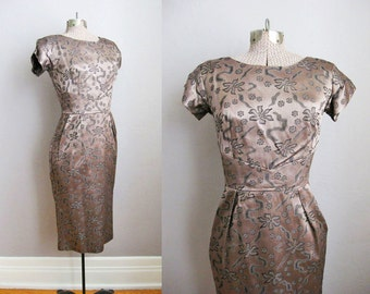 1950s Dress / 50s Cocktail Dress / Vintage Wiggle Dress Brocade Satin / Extra Small XS 0