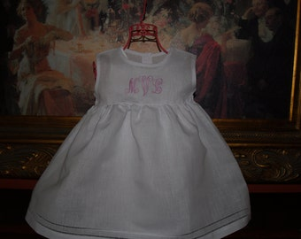 Baby and Toddler Girl White Linen Dress with Hemstitching Monogrammed Great for Christenings and Easter
