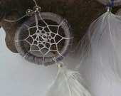Miniature dreamcatcher for dollhouse decoration 1:12  grey
