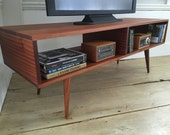 QUICK SHIP-Mid century modern TV table/entertainment console, sapele mahogany with tapered wood legs.