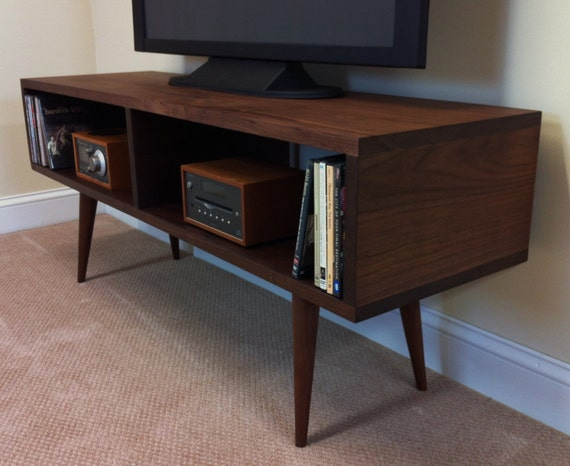 Mid Century Modern Tv Table Entertainment Console Black
