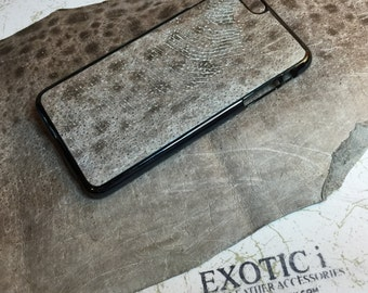 Exotic Atlantic Wolffish Leather iPhone case 6 or 6Plus Gray Natural color
