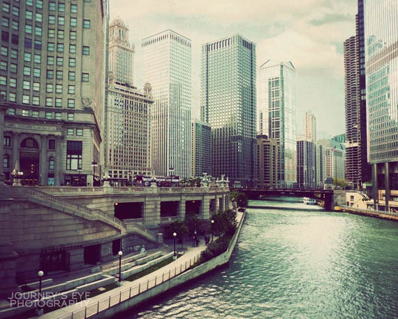 Chicago River - Chicago photograph, Illinois photo, architecture, dreamy print, wall art, picture of Chicago