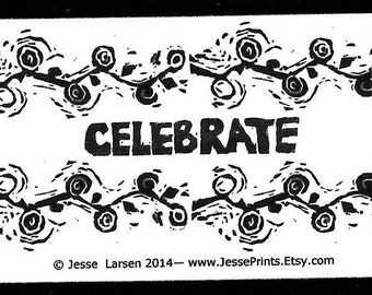 Magnet. Words. Celebrate & design block prints by Jesse Larsen. Ivory-colored business card size. All occasion. Soulful, smart. Yoga. Zen