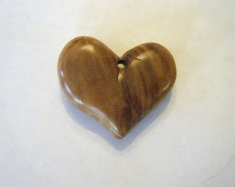 Heart shaped wooden necklace ornament