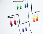Colorful small hanging earrings/ thin Fimo tubes in different gradient colors on metal rod/ choose earhooks/ very light