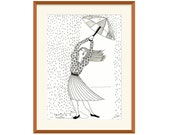 Girl with umbrella illustration, black and white pen illustration print on paper with passe partout frame as gift for her as bed room decor