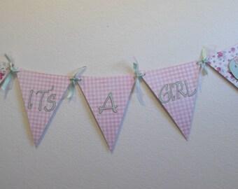 Its a Girl  Birdie  Banner-  Girl Baby Shower Banner- Shabby Chic Birdie Banner-Girl Birdie Banner