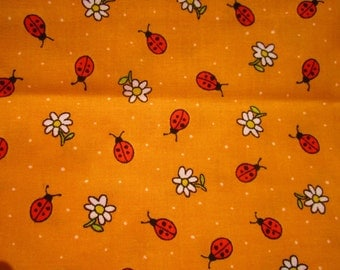 Lady Bug and Flower Print 100% Cotton Fabric Suitable for  Quilting or Sewing One and 2/3 Yard
