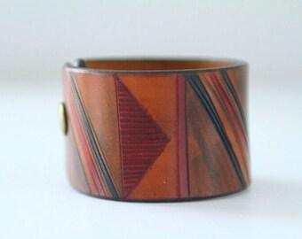 Vintage Tooled Leather Cuff Bracelet 1970s