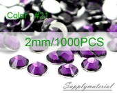 2mm/1000pcs Purple color Flatback Rhinestone Crystal accessories material supplies