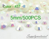5mm/500pcs White AB color Flatback Rhinestone Crystal accessories material supplies