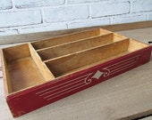Vintage Silverware Drawer Red and White Wooden Drawer