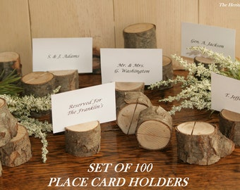 100 Dried Wood Place Card Holders, Escort Card, Barn Wedding, Rustic Wedding Decor, Outdoor Wedding, Woodland Wedding, Farmhouse Wedding