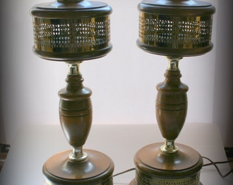 Pair of Vintage Table Lamps,  Sixties Era Danish Style Design, Matched Set Lights, Brass Wood Neoclassical, Living Family Room Office Decor
