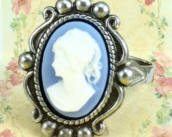 Blue Cameo Ring~Blue with White Profile~Vintage Victorian Style Ring~Adjustable Ring