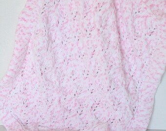 Hand Knit Baby Blanket, Pink & White Snuggle Blanket, Baby Girl Security Blanket, New Baby Gift, Car Seat Blanket, Baby Girl Comforter