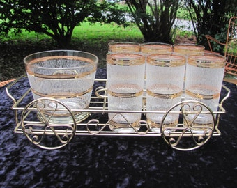 Culver Gold Banded High Ball Glasses Ice Bucket Wagon Caddy