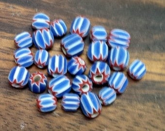Red/White/Blue Glass Chevron Beads Small