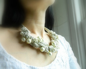 Rope Statement Necklace Macrame Knot Necklace with Pearl Bib Necklace Nautical wedding White Rope Necklace gift for her chunky necklace