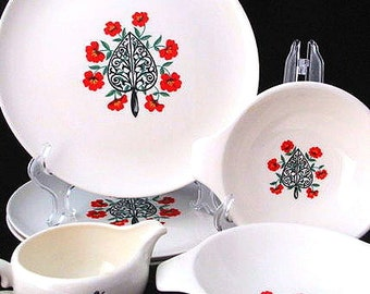 Taylor Smith and Taylor 6 Piece Set with Red Pansy Flowers and Black Trivet Vintage 1950s Set of 6