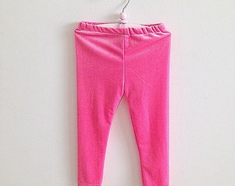 Soft Pink Velvet Leggings - Girls leggings - Velour Leggings -  Baby leggings - ALL COLORS