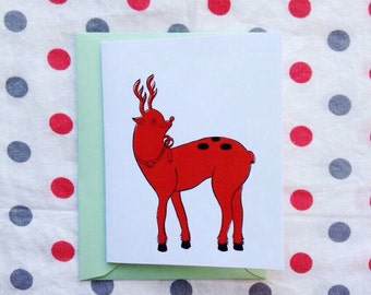 Free shipping -Red reindeer Holiday card