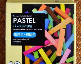 A set of 18 colours Chalk Pastel: Fluorescent & Auxiliary Colors