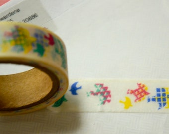 1 Roll Japanese Washi Masking Paper Tape: Beautiful Birds