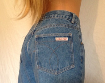 Vintage 80s Fashion Calvin Klein Sport Denim High Waisted Jeans 30 Waist