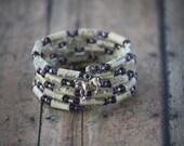 National Velvet Paper Book Bead Bracelet - Spiral Wrap Bracelet - Memory Wire