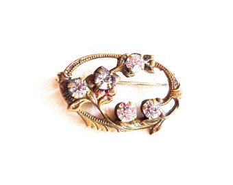 Art Nouveau Edwardian Glass Rhinestone Brooch