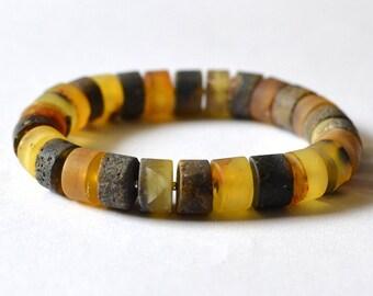 Natural Amber Disc Bracelet Baltic Amber Colorful Amber Bracelet Eco Friendly Organic Sea Inspired