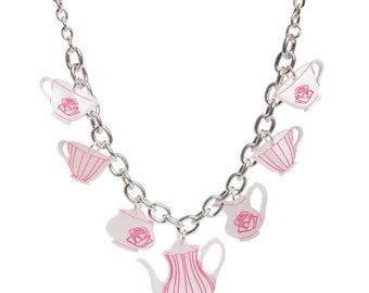 Tea Set necklace - laser cut acrylic