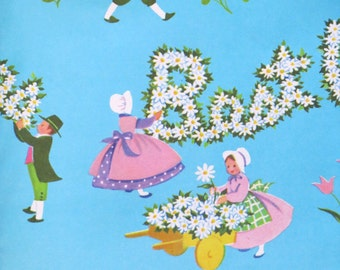 Vintage All-Occasion Gift Wrap - Wrapping Paper - COUPLE Picking Daisies - BEST WISHES - 1950s